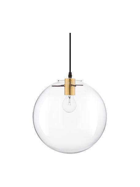 Kleine Pendelleuchte Mirale mit Glasschirm, Lampenschirm: Glas, Baldachin: Kunststoff, Messingfarben, Transparent, Ø 25 x H 26 cm