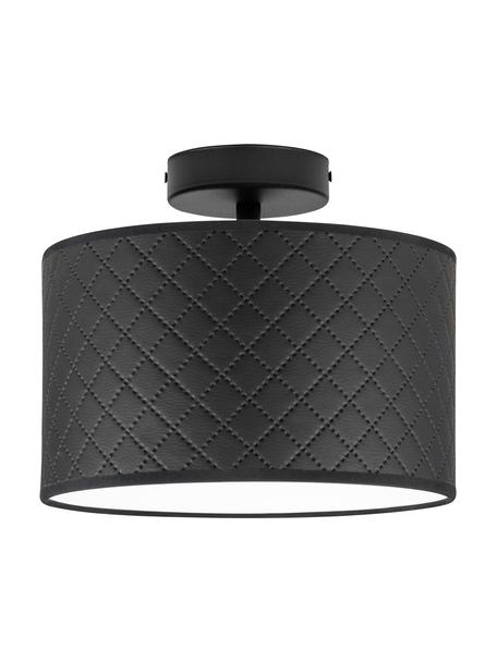 Plafondlamp Trece van kunstleer, Lampenkap: kunstleer, Baldakijn: gepoedercoat metaal, Zwart, Ø 25 x H 20 cm