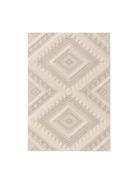 Ethno In- & Outdoor-Teppich Carlo mit Hoch-Tief-Struktur, 100% Polyethylen, Beige, Cream, B 80 x L 150 cm (Größe XS)