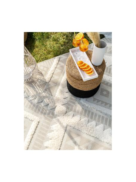 Ethno in- & outdoor vloerkleed Carlo met hoog-laag structuur, 100% polyethyleen, Beige, crèmekleurig, B 80 x L 150 cm (maat XS)