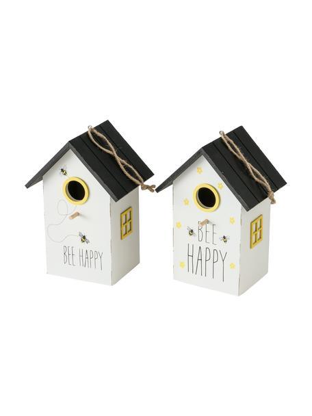 Set 2 casette per uccelli Maja, Pannello di fibra a media densità (MDF), rivestito, Bianco, nero, giallo, Larg. 15 x Alt. 22 cm
