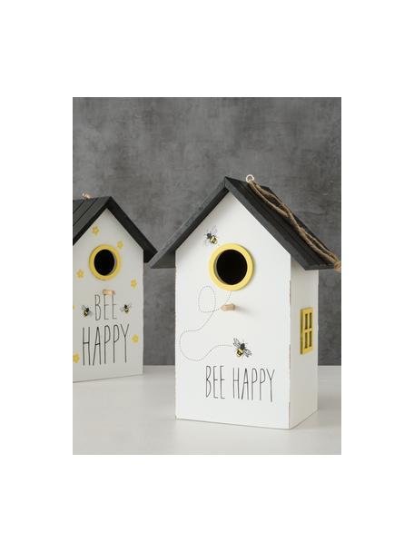 Vogelhuisjesset Maja, 2-delig, Gecoat MDF, Wit, zwart, geel, 15 x 22 cm