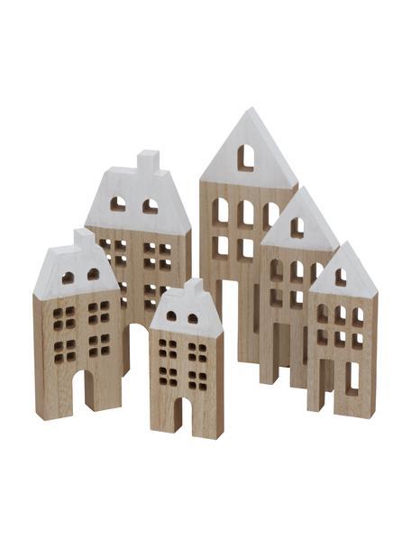 Piezas decorativas casas Towny, 6uds., Tablero de fibras de densidad media recubierto, Beige, blanco, Set de diferentes tamaños