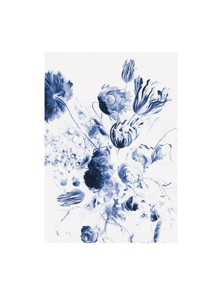 Fotomural Royal Blue Flowers, Tejido no tejido, ecológica y biodegradable, Azul, blanco, mate, An 196 x Al 280 cm