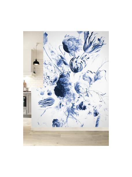 Carta da parati Royal blue Flowers, Pelo ecologico e biodegradabile, Blu, bianco opaco, Larg. 196 x Alt. 280 cm