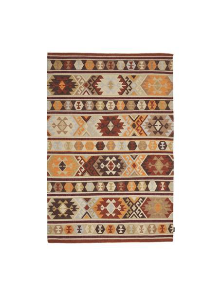 Handgewebter Kelimteppich Malu aus Wolle, 100% Wolle, Braun, Beige, Gelb, B 120 x L 180 cm (Größe S)