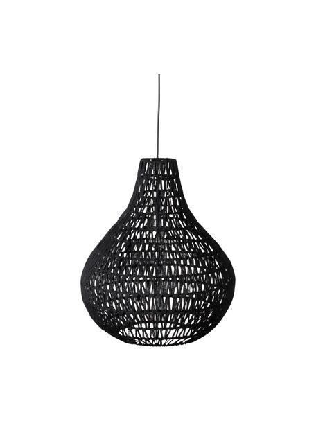 Lampa wisząca z tkaniny Cable Drop, Czarny, Ø 45 x W 51 cm
