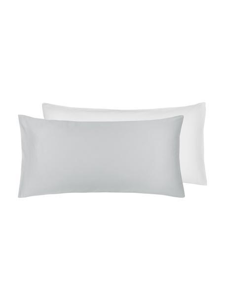 Baumwollsatin-Wendekopfkissenbezüge Julia in Weiß/Grau, 2 Stück, Webart: Satin Fadendichte 250 TC,, Weiß, Hellgrau, 40 x 80 cm