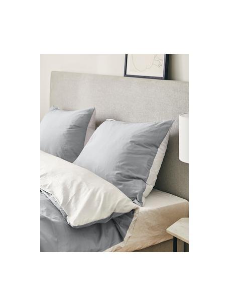 Dwustronna poszewka na poduszkę z satyny bawełnianej Julia, 2 szt., Biały, jasny szary, S 40 x D 80 cm