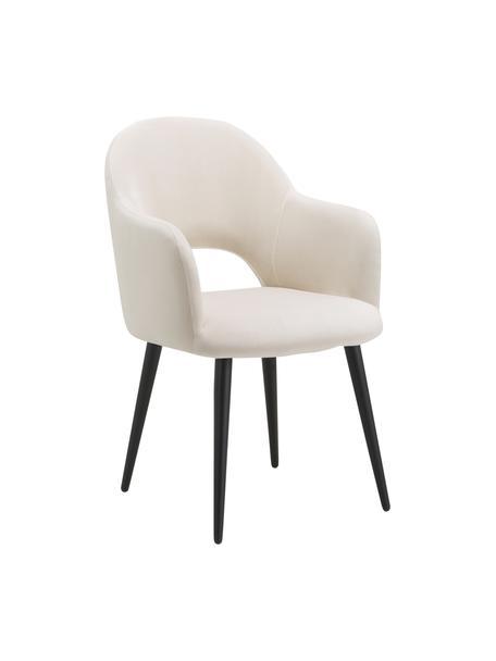 Krzesło z podłokietnikami z aksamitu Rachel, Tapicerka: aksamit (poliester) Dzięk, Nogi: metal malowany proszkowo, Aksamitny beżowy, S 64 x G 47 cm