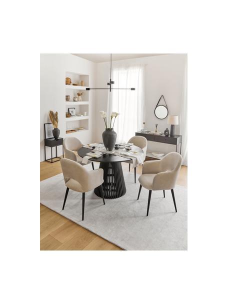 Krzesło z podłokietnikami z aksamitu Rachel, Tapicerka: aksamit (poliester) Dzięk, Nogi: metal malowany proszkowo, Aksamitny beżowy, S 56 x G 70 cm