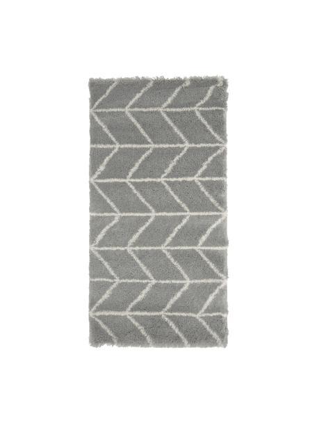 Hochflor-Teppich Cera in Grau/Cremeweiß, Flor: 100% Polypropylen, Grau, Cremeweiß, B 80 x L 150 cm (Größe XS)