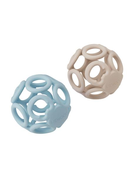 Set de mordedores Jasmin, 2uds., 100%silicona, Azul, beige, Ø 9 cm