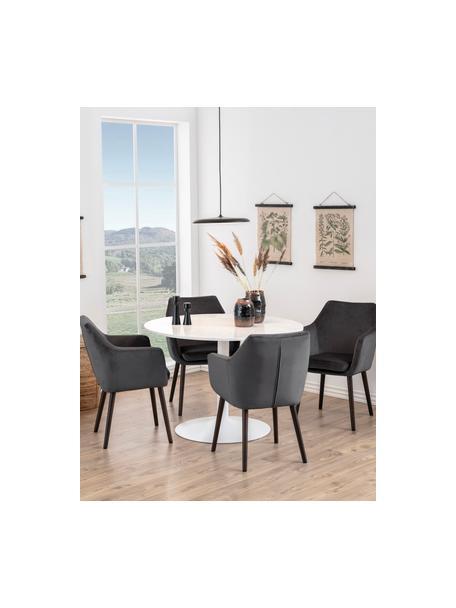 Fluwelen armstoel Nora met houten poten, Bekleding: polyester fluweel, Poten: gebeitst eikenhout, Donkergrijs, 58 x 84 cm