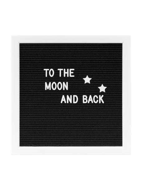Buchstabentafel Message mit Holzrahmen, Rahmen: Mitteldichte Holzfaserpla, Schwarz, Weiss, 30 x 30 cm