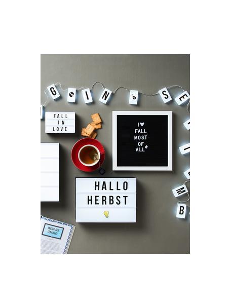 Letterbord Message met houten frame, Frame: gelakt MDF, Zwart, wit, 30 x 30 cm