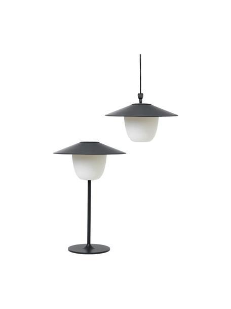 Mobiele outdoor LED lamp Ani, Lampenkap: aluminium, Lampvoet: gecoat aluminium, Donkergrijs, Ø 22 x H 33 cm