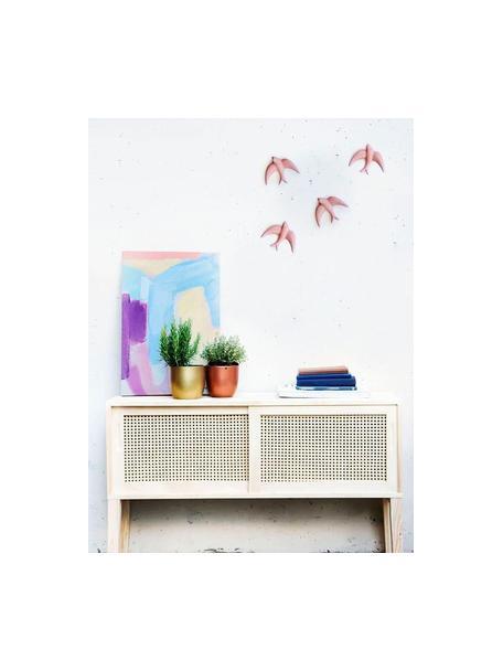 Set de decoración de pared Swallows, 2pzas., Porcelana, Rosa, An 11 x Al 11 cm