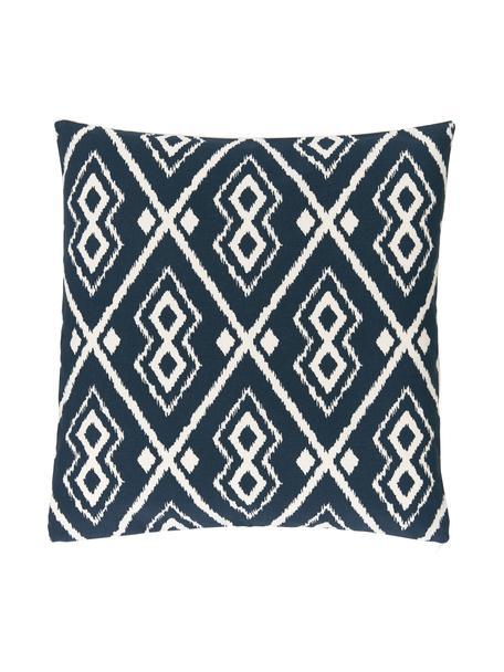 Federa arredo boho color bianco crema/blu navy Deliah, 100% cotone, Blu navy, Larg. 45 x Lung. 45 cm