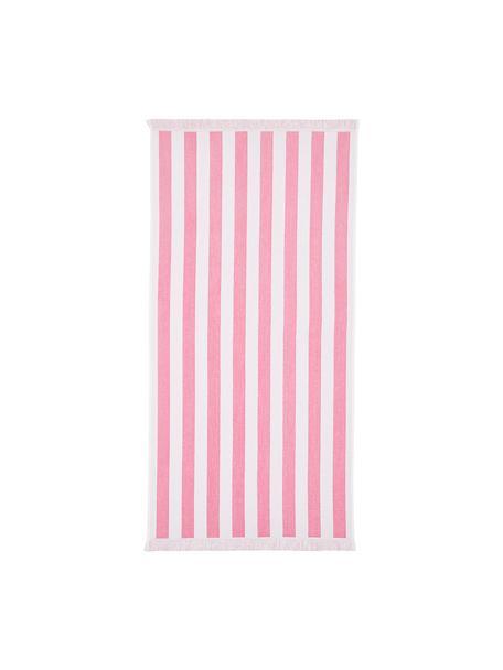 Gestreepte strandlaken Mare, 100% katoen Lichte kwaliteit 380 g/m², Roze, wit, 80 x 160 cm