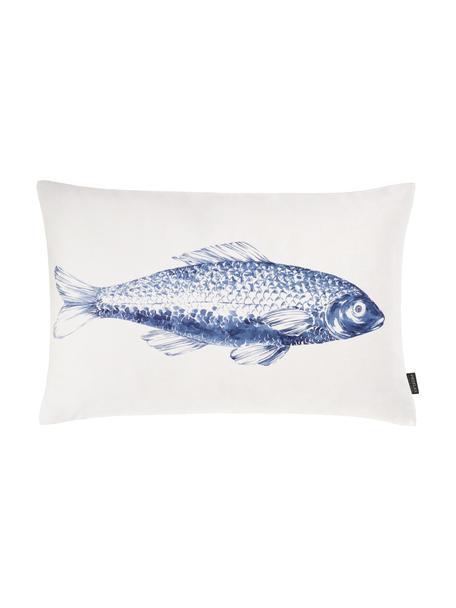 Poszewka na poduszkę Petri, 100% bawełna, Biały, niebieski, S 40 x D 60 cm