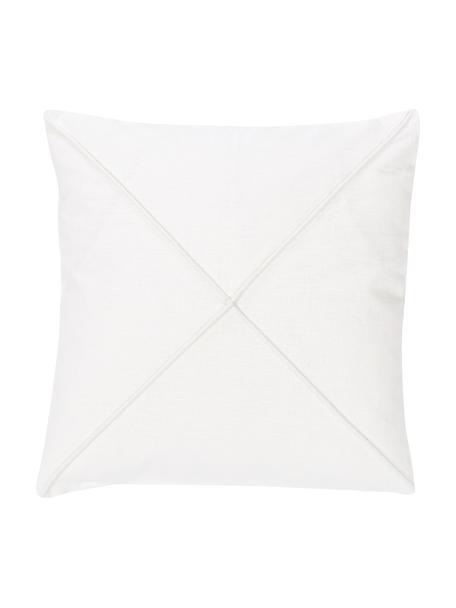 Kussenhoes Darla in wit met structuurpatroon, 55% linnen, 45% katoen, Wit, 45 x 45 cm