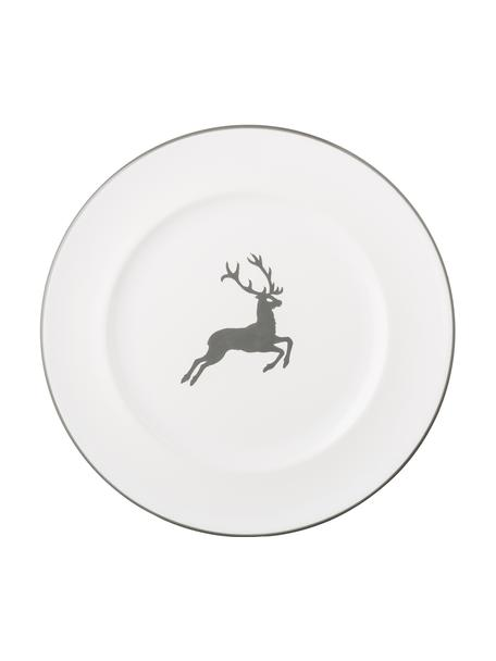 Plato llano artesanal Gourmet Grauer Hirsch, Cerámica, Gris, blanco, Ø 27 cm