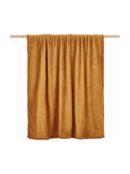 Zachte plaid Doudou in mosterdgeel, 100% polyester, Geel, 125 x 160 cm