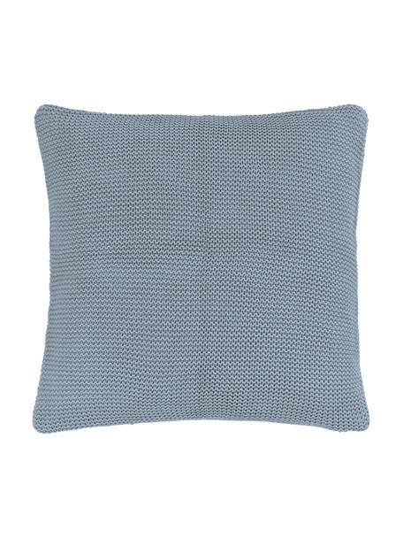 Strick-Kissenhülle Adalyn aus Bio-Baumwolle in Blau, 100% Bio-Baumwolle, GOTS-zertifiziert, Blau, 40 x 40 cm