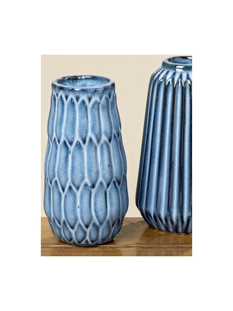Set de jarrones de cerámica Aquarel, 3pzas., Porcelana, Tonos azules con degradado, Set de diferentes tamaños