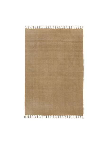 Dünner Baumwollteppich Agneta in Taupe, handgewebt, 100% Baumwolle, Beige, B 50 x L 80 cm (Grösse XXS)