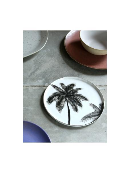 Frühstücksteller Lana mit Palmen-Motiv, 2 Stück, Porzellan, Schwarz, Weiß, Ø 22 cm