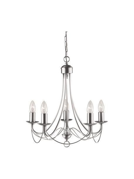 Lámpara de araña Maypole, Estructura: acero cepillado, Anclaje: acero cepillado, Cable: plástico, Acero, Ø 46 x Al 47 cm