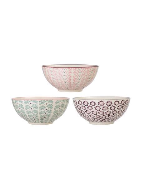 Set 3 ciotole Maya, Terracotta, Bianco latteo, verde, rosa, lilla, Ø 17 x Alt. 8 cm