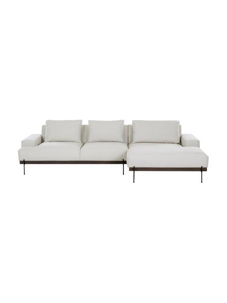Sofa narożna z metalowymi nogami Brooks, Tapicerka: poliester Tapicerka nie j, Stelaż: lite drewno sosnowe, Nogi: metal malowany proszkowo, Beżowy, S 315 x G 148 cm