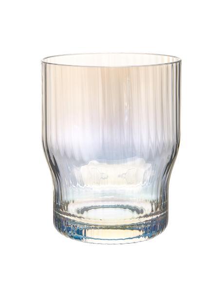 Mondgeblazen waterglazen Juno met groefreliëf en paarlemoer glans, 4 stuks, Glas, Transparant, Ø 9 x H 11 cm