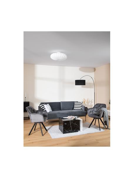 Plafondlamp Mamsell van stof, Lampenkap: 60 % polyester, 40 % rayo, Baldakijn: metaal, Wit, Ø 55 x H 28 cm