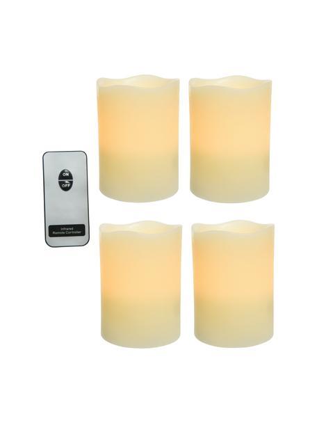 Set 4 candele a LED a batteria Beno, Cera, Bianco crema, Ø 8 x Alt. 10 cm