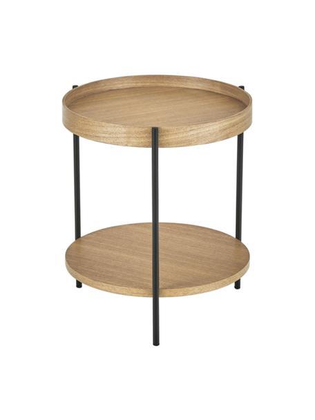 Tavolino rotondo in legno con finitura di frassino Renee, Ripiani: pannello di fibra a media, Struttura: metallo verniciato a polv, Legno di frassino, Ø 44 x Alt. 49 cm