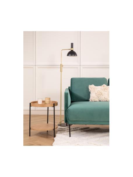 Tavolino rotondo con piano d'appoggio Renee, Ripiani: pannello di fibra a media, Struttura: metallo, verniciato a pol, Legno di quercia, Ø 44 x Alt. 49 cm