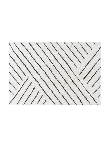 Dywanik łazienkowy w stylu boho Lawa, 100% bawełna, Naturalny biały, czarny, S 50 x D 80 cm