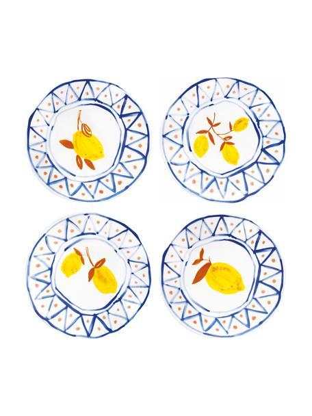 Bunt bemalte Brotteller Rafika mit Zitronen-Motiv, 4er-Set, Steingut, Weiß, Blau, Orange, Gelb, Ø 16 cm