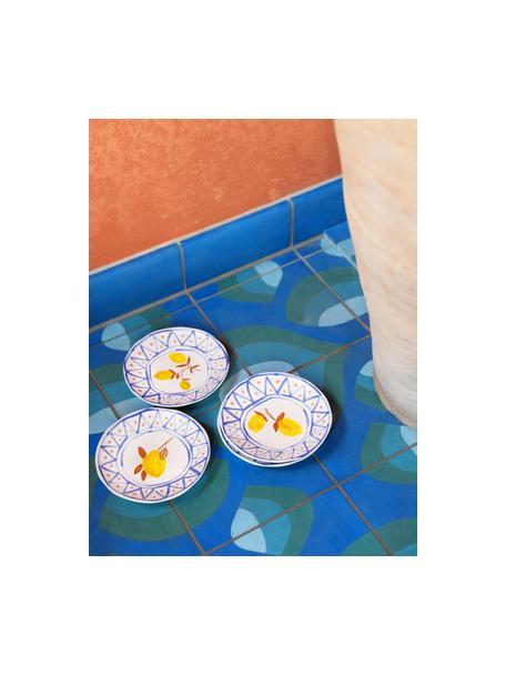 Kleurrijk beschilderde Rafika broodbordjes met citroenmotief, 4-delig, Keramiek, Wit, blauw, oranje, geel, Ø 16 cm