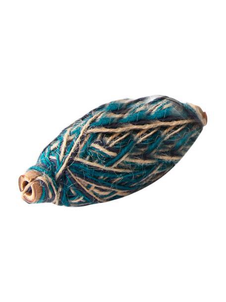 Geschenkdraad Flaxcord, Jute, Lichtbruin, blauw, petrolkleurig, L 50 cm
