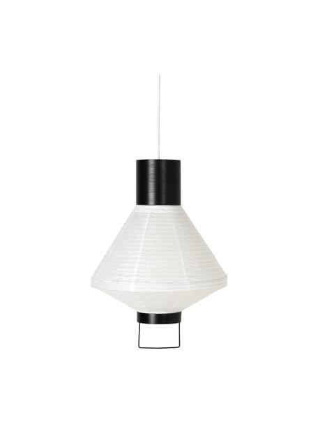 Lámpara de techo de papel de diseño Ritta, Pantalla: papel, Estructura: metal recubierto, Cable: cubierto en tela, Blanco, negro, Ø 30 x Al 42 cm