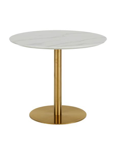 Runder Esstisch Karla in Marmoroptik, Ø 90 cm, Tischplatte: Mitteldichte Holzfaserpla, Weiß in Marmor-Optik, ∅ 90 x H 75 cm