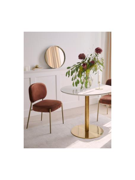 Runder Esstisch Karla in Marmor-Optik in Weiß/Gold, Tischplatte: Mitteldichte Holzfaserpla, Weiß in Marmor-Optik, ∅ 90 x H 75 cm