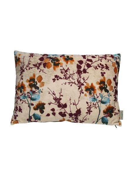 Samt-Kissen Branches mit floralem Muster, mit Inlett, Bezug: Baumwollsamt, Beige, Mehrfarbig, 40 x 60 cm