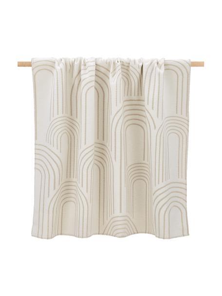 Omkeerbare plaid Deco met reliëf design en decoratieve stiksels, 85% katoen, 15% polyacryl, Crèmekleurig, beige, 130 x 200 cm