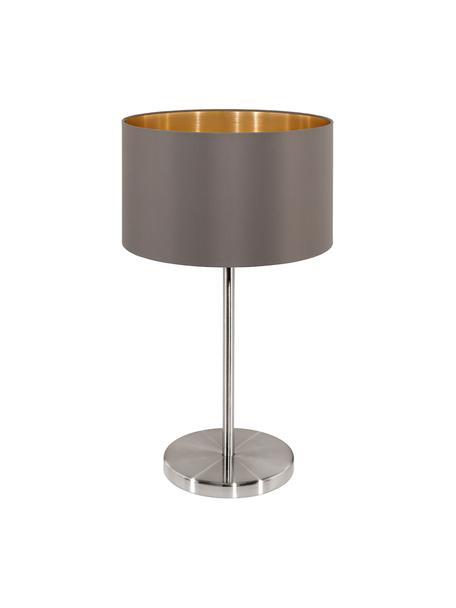 Tafellamp Jamie met goudkleurige decoratie, Lampvoet: vernikkeld metaal, Grijsbeige, zilverkleurig, Ø 23 x H 42 cm
